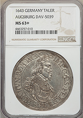 1643 Germany Augsburg Taler  NGC MS63+