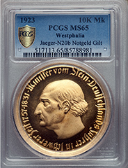 1923 Germany Westphalia 10K Marks PCGS MS65