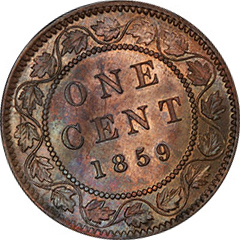 1859 One Cent MS64 BN  (Nar. 9)